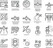 Flat thin line Icons set of Aircraft and Airport. Pixel Perfect Icons. Simple mono linear pictogram pack stroke vector symbol concept for web graphics