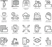 Flat thin line Icons set of Modern Technology. Pixel Perfect Icons. Simple mono linear pictogram pack stroke vector logo concept for web graphics