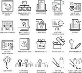 Flat thin line Icons set of Web Programming and Security. Pixel Perfect Icons. Simple mono linear pictogram pack stroke vector logo concept for web graphics.
