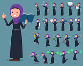 Set of various poses of flat type Arab woman_2