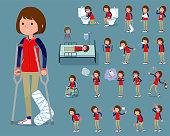flat type Store staff red uniform women_sickness
