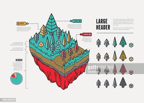 Flat UI Infographic Elements - Floating Landmass