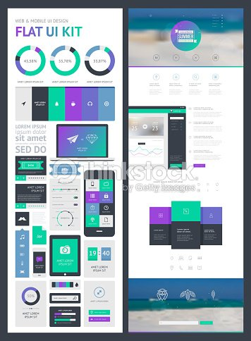 flat ui kit for web and mobile ui design page vector art - Ui Design Ideas