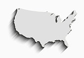 flat usa map. abstract vector background for wallpaper, banner. design concept. clearly template. minimalistic map with shadow in grey color