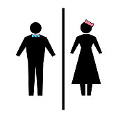 Flat vector: icon of a man and a woman on a white background. Isolated toilet sign. Black figures. A simple geometric contour. A gentleman in a blue butterfly, a lady with a pink bow on her head.