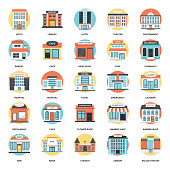Here we go with the icons related to buildings. This creative and colorful flat vector icon set accommodates architectural building designs.
