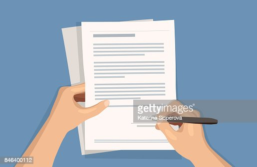 Flat vector illustration of man writing signature on contract document on blue background : stock vector