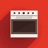 White oven with gray door. Flat vector illustration on red background.