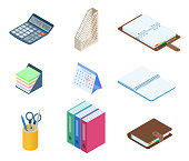 Flat vector isometric illustration of office desktop workplace stationery set. Vector supplies: business and school organizer, copybook, desk holder, document storage, memo notes, calendar, calculator