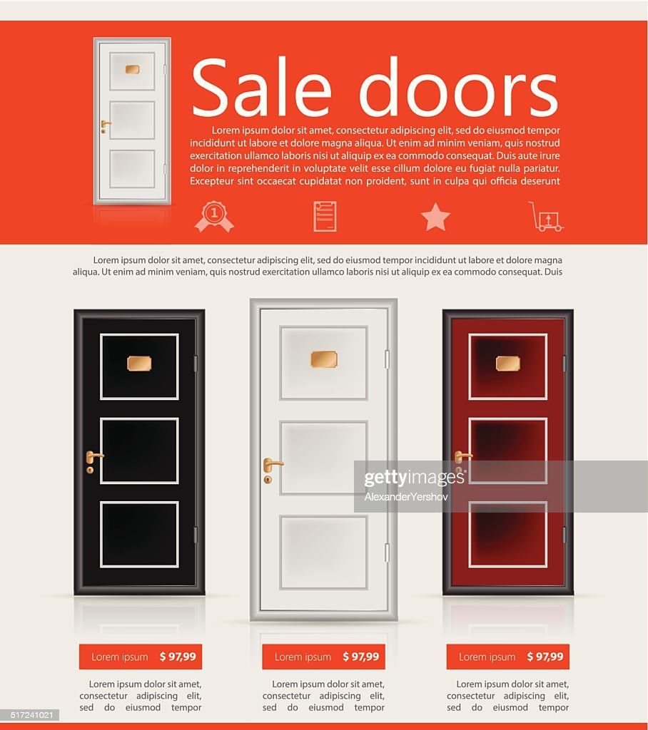 Flat vector minimalist template business design. Doors.  Vector Art  sc 1 st  Thinkstock : door flyer ideas - pezcame.com