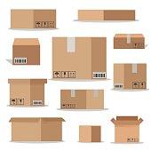 Flat vector packaging carton boxes set.