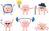 Set of funny humanized brains with arms and legs in different actions. Human internal organ. Cartoon characters. Stickers for social network. Colorful flat vector icons isolated on white background.