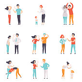 Set of quarrelling people. Women and men loudly screaming at each other. Mothers scolding children. Negative emotions and conflicts. Colorful flat vector illustrations isolated on white background.