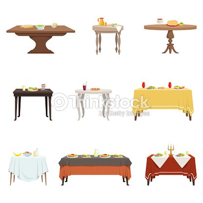 Flat vector set of wooden dinner tables with various food and drinks. Cartoon kitchen furniture. Breakfast, lunch, dinner