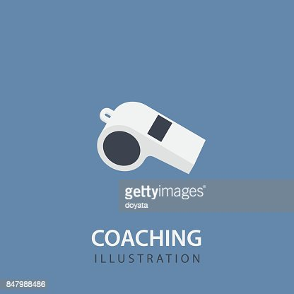 Flat White Whistle Isolated. Sport Coaching Concept : stock vector