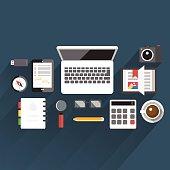 Flat vector illustration table office
