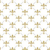 Fleur de lis seamless vector pattern. French vintage stylized lily flower luxury royal symbol. Monarchy gold iris sign on white intersected background.