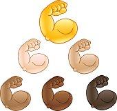 Flexed biceps hand emoji of various skin tones