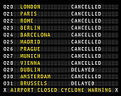 Flight information on airport displaying cancelled flights during a cyclone, vector