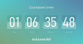 Flip countdown clock counter timer, coming soon or under construction web site page time remaining count down, vector illustration