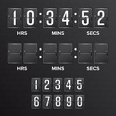 Flip Countdown Timer Vector. Analog Black Scoreboard Digital Timer Blank. Hours, Minutes, Seconds. Time