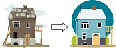Rundown derelict house turned into a cute cottage, EPS 8 vector illustration