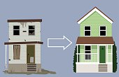 Old, rundown house turned into a nice new two-storey home, EPS 8 vector illustration