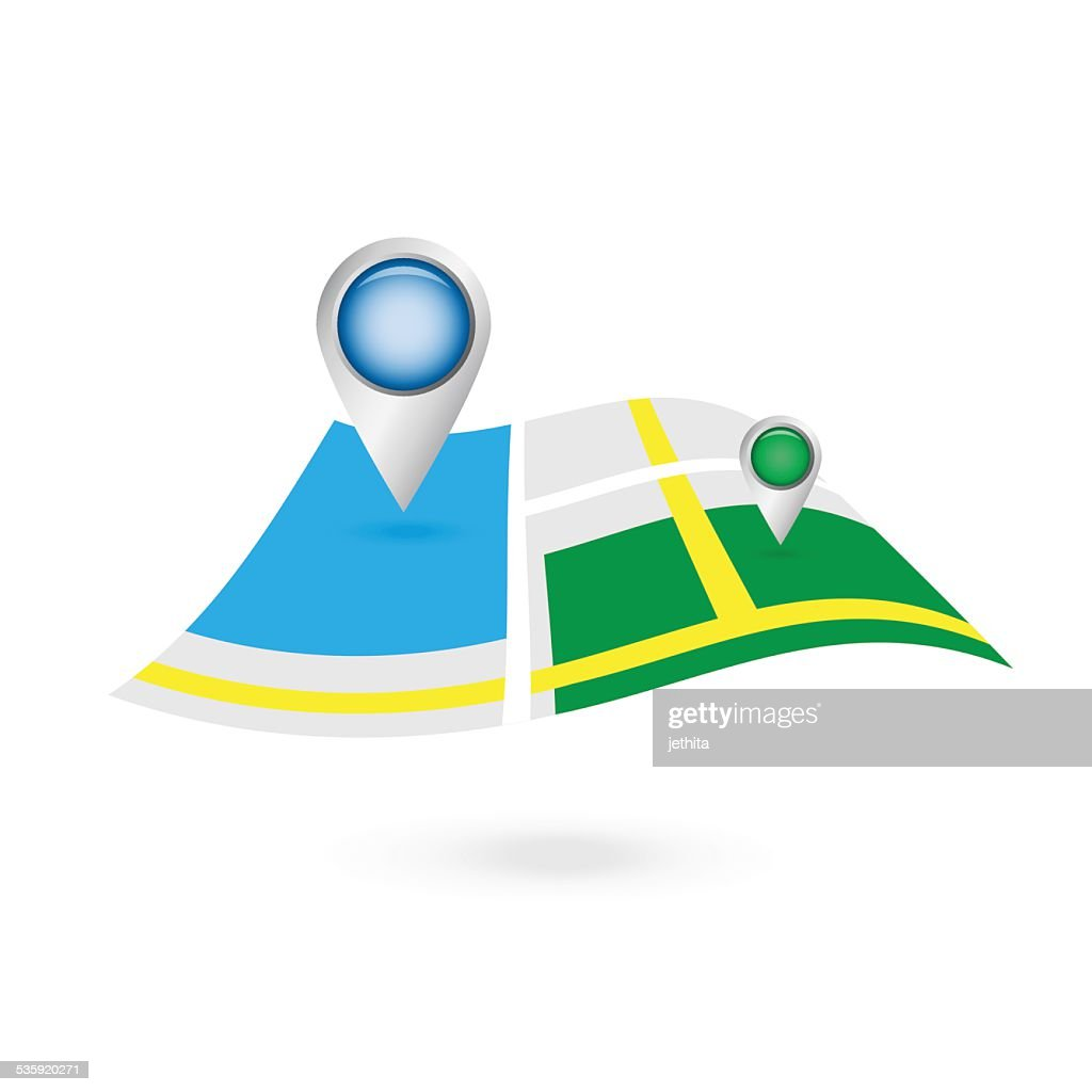 float flying map with navigator location pin on top : Vector Art