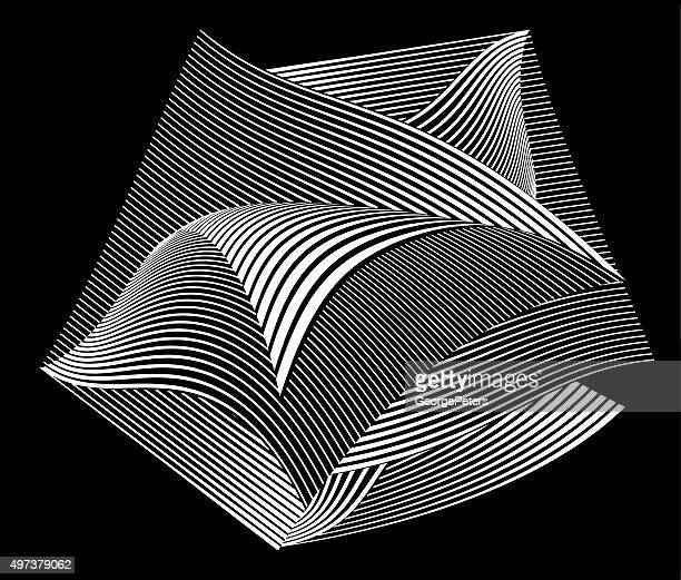 Floating Curled Pages with Striped Halftonr Pattern