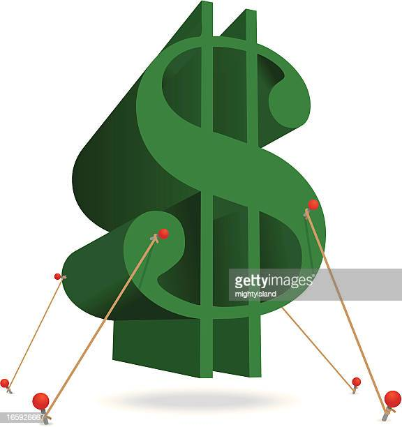 Floating dollar symbol held down with ropes