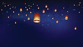 Khom loyor floating lanterns into the night sky. Thai people believed that misfortune will fly away with the lanterns, and they like done all festival at night. Sometime belief this activities is sen