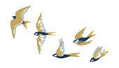 A flock of flying birds swallows. Vector illustration.
