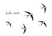 flock of swallow birds illustration, birds, bird, spring, summer, dove, animal
