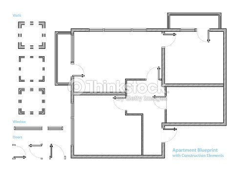 Apartment Blueprint With Construction Elements House Project Vector Illustration