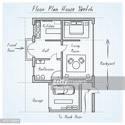 Floor Plan House Sketch Vector Art