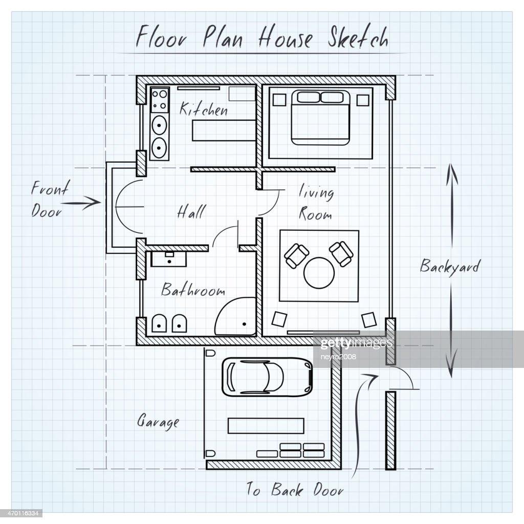 Floor Plan House Sketch : Vector Art