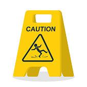 Floor sign of danger. Wet floor sign. Cleaning in progress. Falling silhouette man is on the floor. Pictogram of danger. Vector illustration flat design. Isolated yellow symbol on white background.