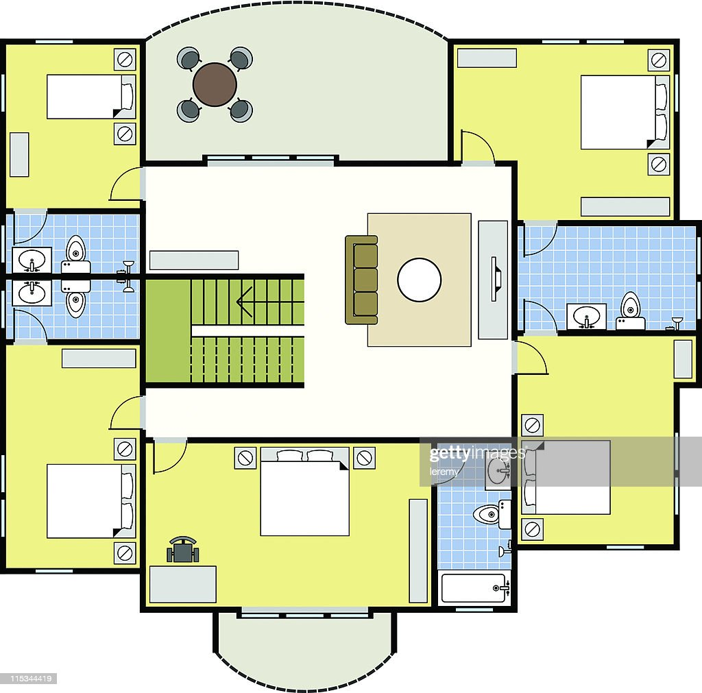 Floorplan First Second Floor Plan House Home Architecture : Vector Art