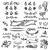 Floral and graphic  design elements with ampersands.Vector set of text dividers for lettering.Doodles border,arrow and decorative hearts.