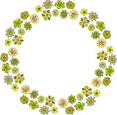 Beautiful floral art with wreath of decorative flowers on white background