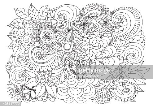 Floral Background For Coloring Page Vector Art Thinkstock