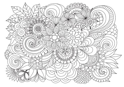 Floral Background For Coloring Page Stock Vector Thinkstock