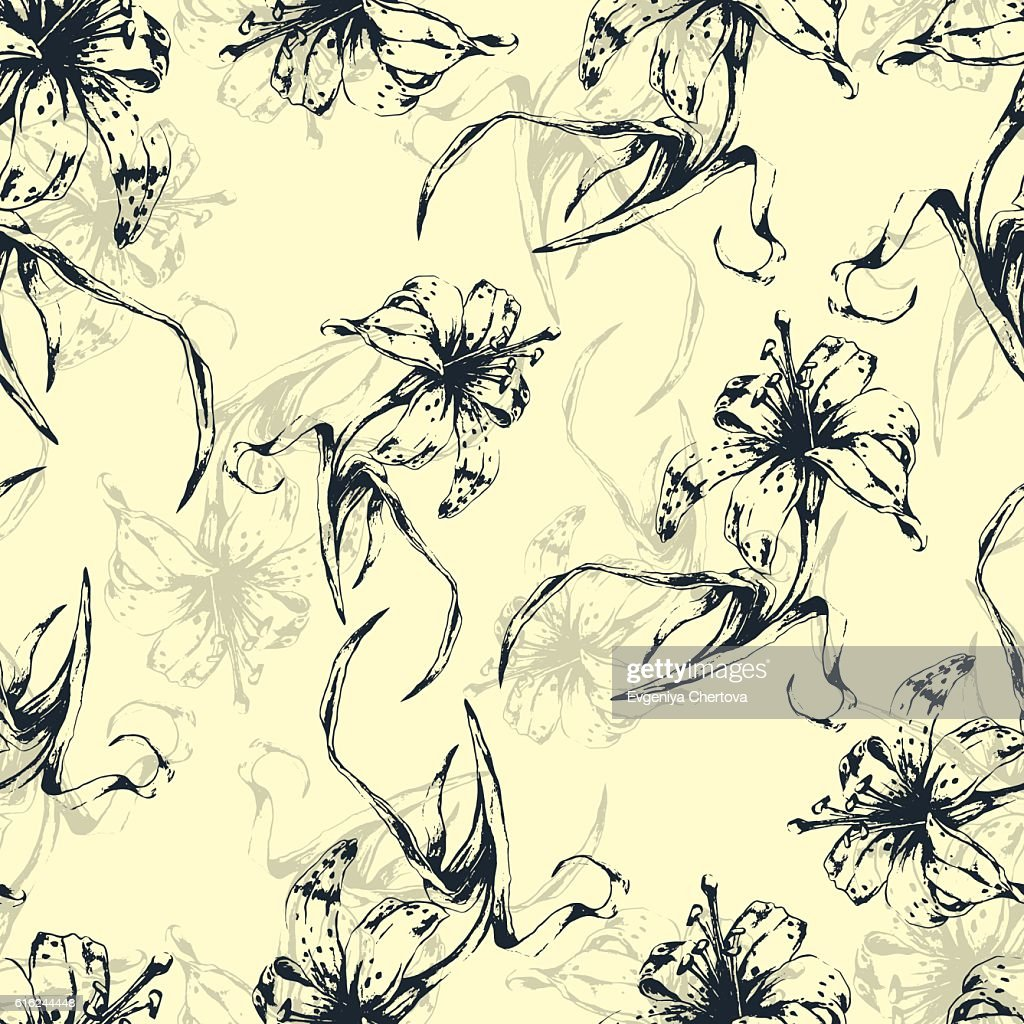 Floral background, seamless pattern with flowers lilies : Vector Art