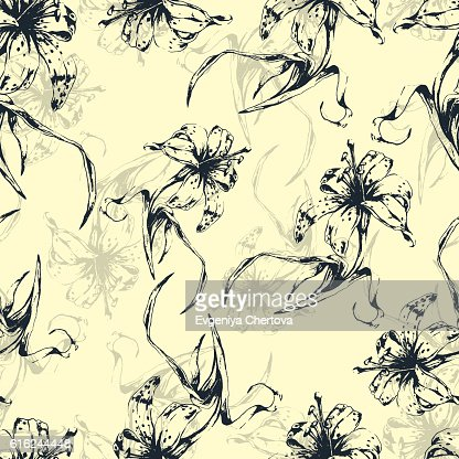 Floral background, seamless pattern with flowers lilies : Arte vetorial