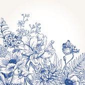 Floral background with vintage flowers. Vector botanical illustration. Chrysanthemum, tulip, peony, anemone, phlox, ferns, boxwood. Design elements. Blue flowers.