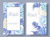 Vector botanical banners with blue peony, hydrangea and fern. Floral design for natural cosmetics, perfume, women products. Best for greeting card, wedding invitation. Can be used as winter background