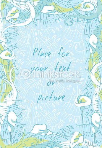 Floral Calla Lily Vertical Frame Banner On Blue Background Vector ...