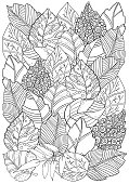 Floral doodle background pattern in vector with autumn leaves. Design Asian, ethnic, tribal pattern. Black and white. Coloring book. Monochrome. A4.