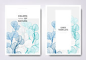 Floral greeting/invitation card template design, hand drawn leaves, minimalist pastel style