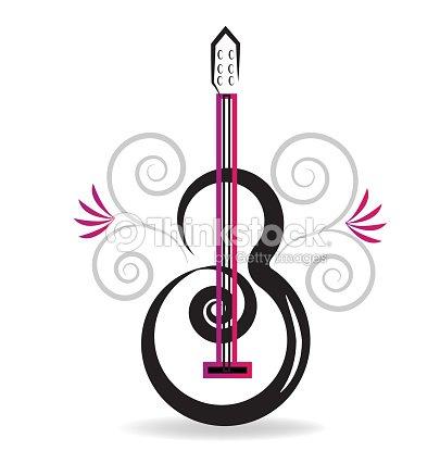 Fond De Carte Visite Florale Guitare Musique Concept Clipart Vectoriel